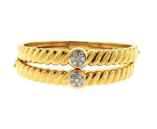 18k Gold Diamond Bangle Bracelet Set of 2