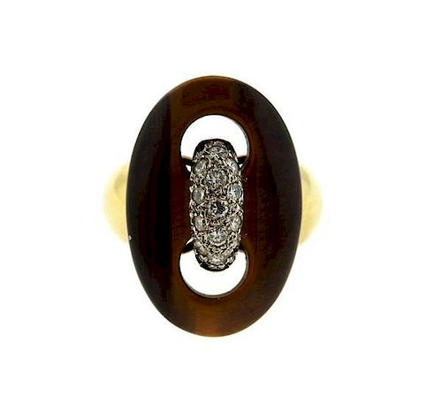 Cellino 18K Gold Platinum Diamond Tiger Eye Ring