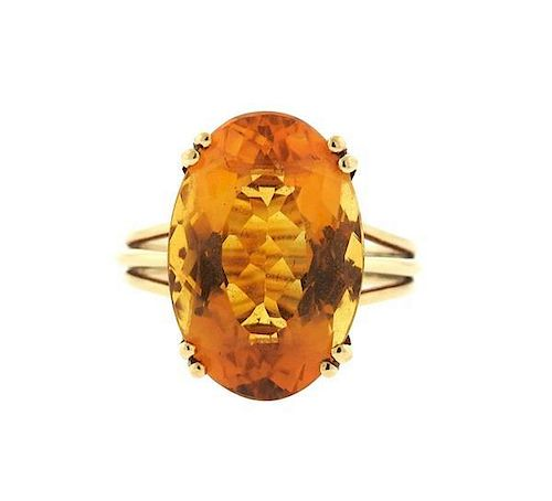 14K Gold Citrine Cocktail Ring