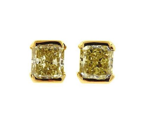 GIA 2.45ctw Natural Fancy Yellow Diamond 18k Gold Stud Earrings