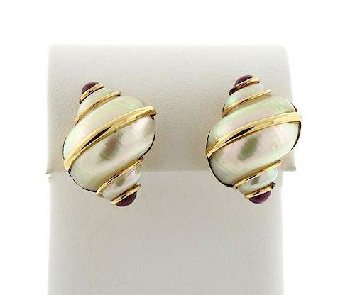Maz 14k Gold Shell Ruby Earrings