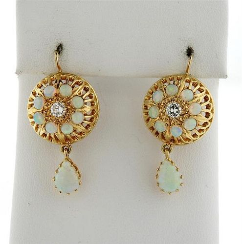 14k Gold Opal Diamond Drop Earrings