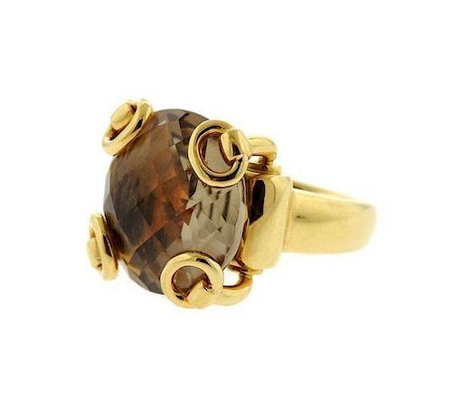 Gucci Horsebit 18K Gold Smoky Quartz Ring