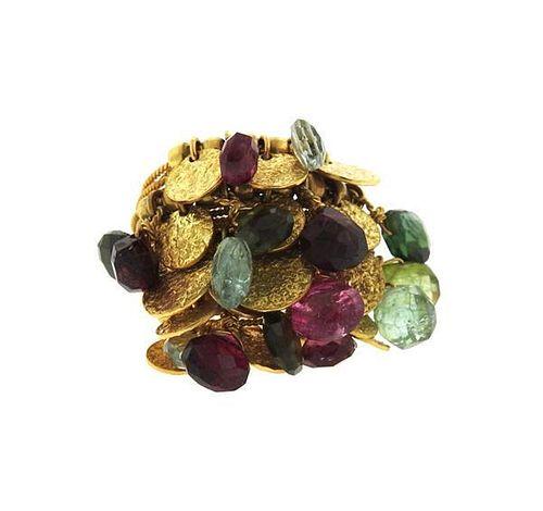 18K Gold Multi Gemstone Charm Ring