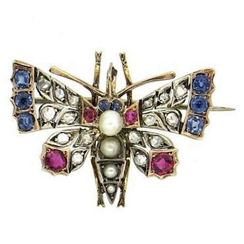 Antique Rose Cut Diamond Ruby Pearl Sapphire Gold Butterfly Brooch Pin