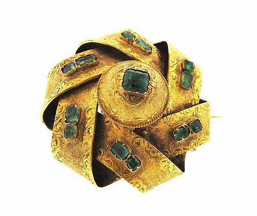 Antique 18k Gold Green Stone Pin Brooch