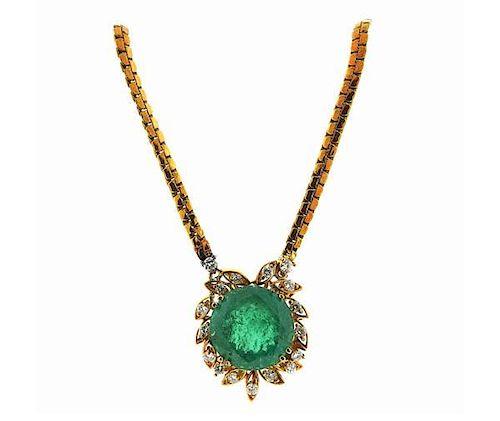 14K Gold Emerald Diamond Pendant Necklace