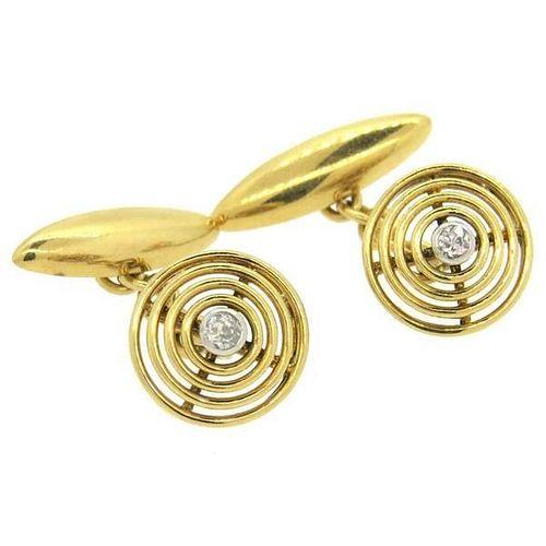 Art Deco Diamond 18k Gold Cufflinks