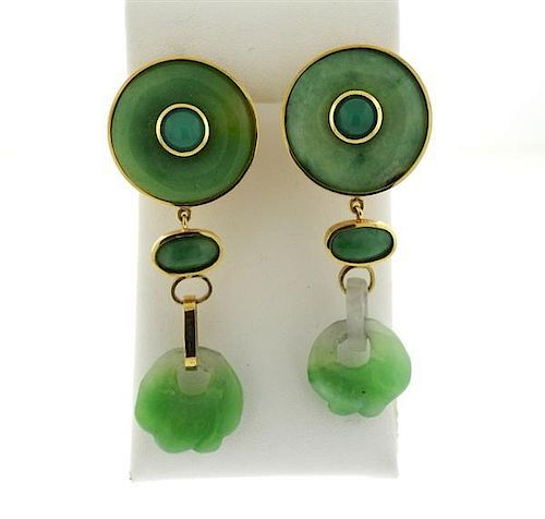 Large Tony Douquette 18k Gold Carved Jade Earrings