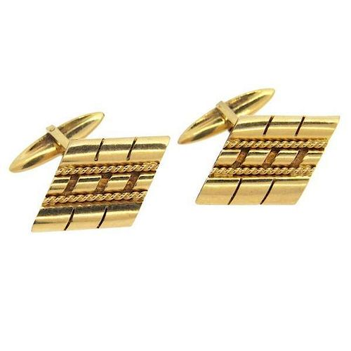 Retro Large 18k Gold Cufflinks