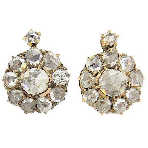 Early Victorian Rose Cut Diamond 14k Gold Leverback Earrings