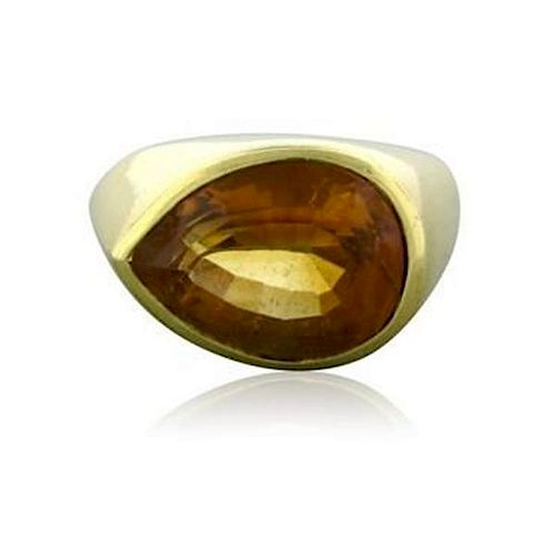 Tiffany & Co Paloma Picasso 18K Yellow Gold Pear Shaped Citrine Ring