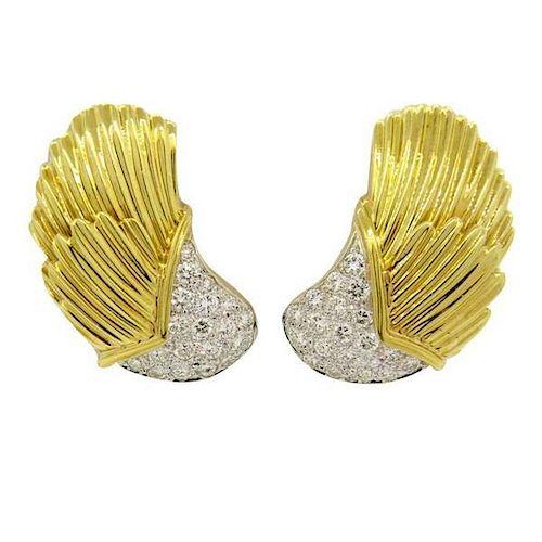 1980s Classic 1.00ctw Diamond 18k Gold Wing Earrings