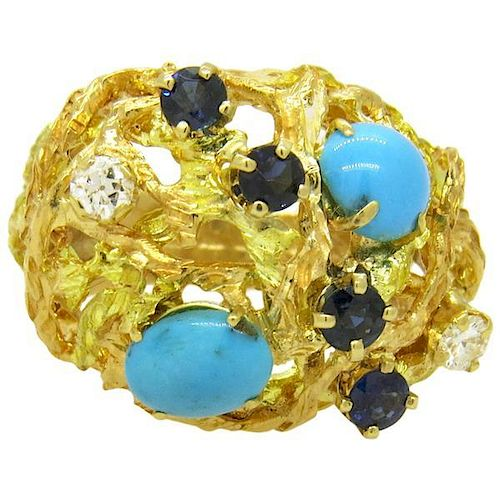 Turquoise Sapphire Diamond Gold Dome Ring