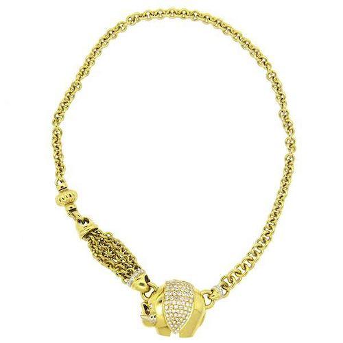 Pasquale Bruni Impressive Diamond 18k Gold Elephant Pendant Necklace