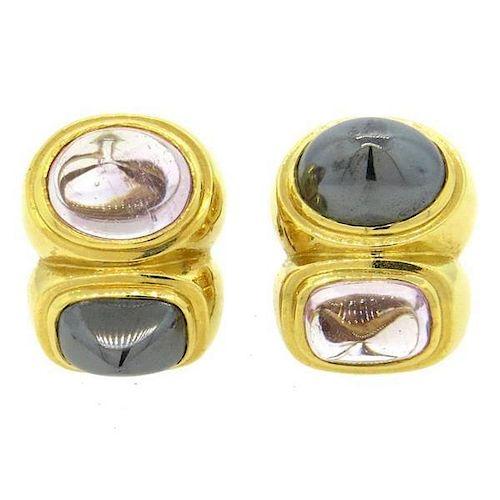 Large 1980s 18k Gold Hematite Rose Quartz Earrings