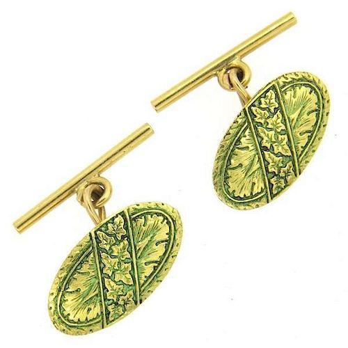 18K Gold Green Enamel Floral Oval Cufflinks