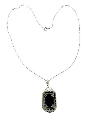 Art Deco 14k Gold Onyx Filigree Pendant Necklace