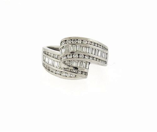 Charles Krypell Platinum 2.50ctw Diamond Wave Motif Ring
