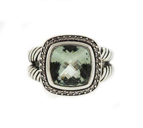 David Yurman Albion Sterling Prasiolite  Diamonds Ring