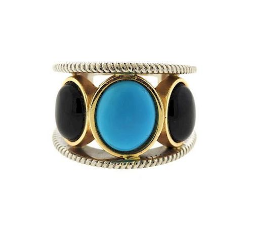 14k Gold Sterling  Onyx Turquoise Large Ring