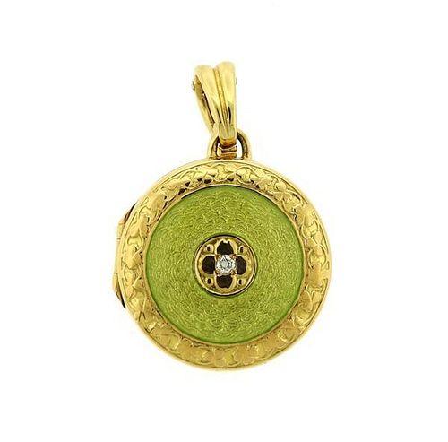 18K Gold Enamel Diamond Enhancer Locket Pendant