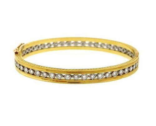 Cathy Waterman 22k Gold Platinum Diamond Bangle Bracelet