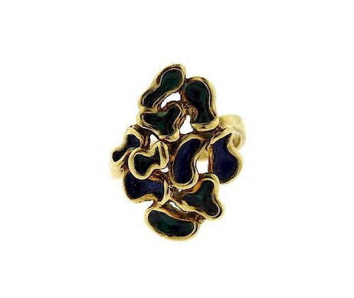 Funky 14k Gold Blue Green Enamel Free Form Ring