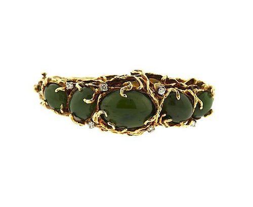 1970s 14K Gold Nephrite Diamond Free Form Bangle Bracelet