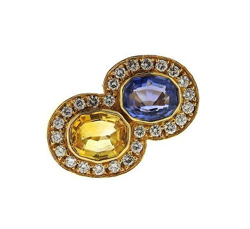 18k Gold Blue Yellow Sapphire Diamond Bypass Ring
