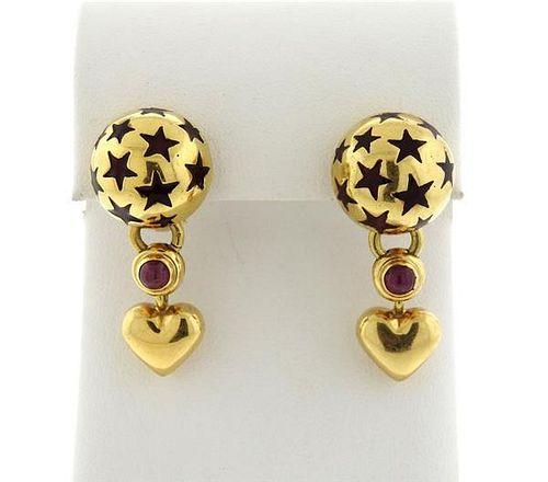 Ponte Vecchio 18k Gold Ruby Enamel Earrings