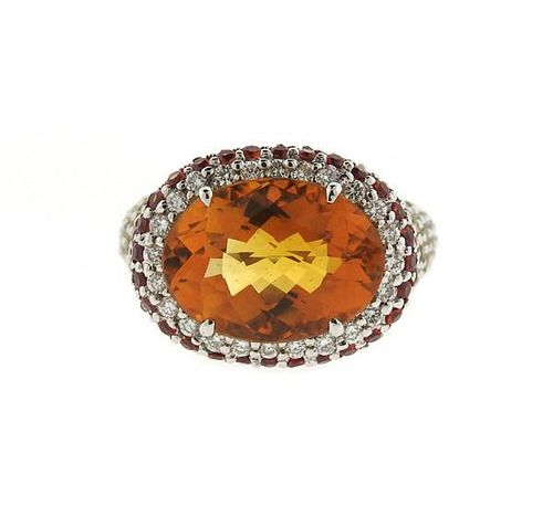 18k Gold Multi Color Sapphire Diamond Quartz Ring
