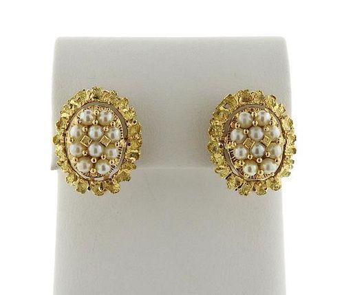 18k Gold Tiger's Eye Pearl Convertible Earrings