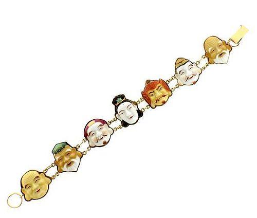 18K Gold Japanese Toshikane Seven Gods of Good Fortune Bracelet