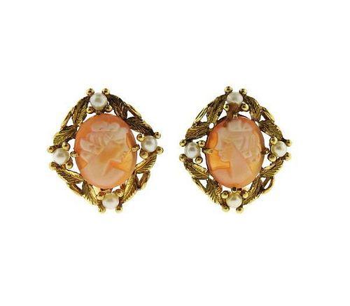 18k Gold Shell Cameo Pearl Earrings