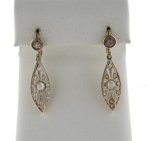Antique 18k Gold Platinum Rose Cut Diamond Earrings