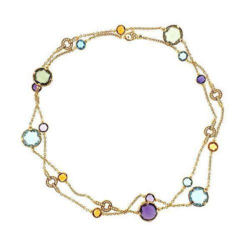Bvlgari Bulgari Parentesi Multi Gemstone Diamond Necklace