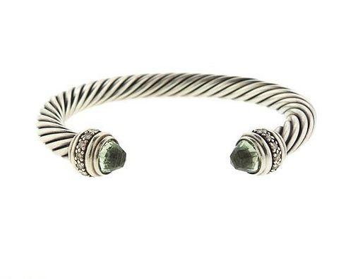 David Yurman Cable Sterling Prasiolite Diamonds Cuff Bracelet