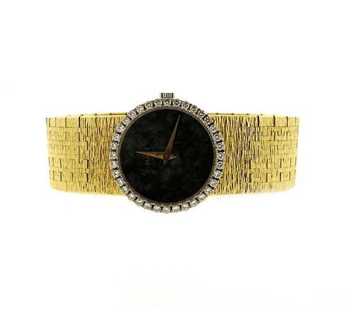 Piaget 18k Gold Green Stone Dial Diamond Watch