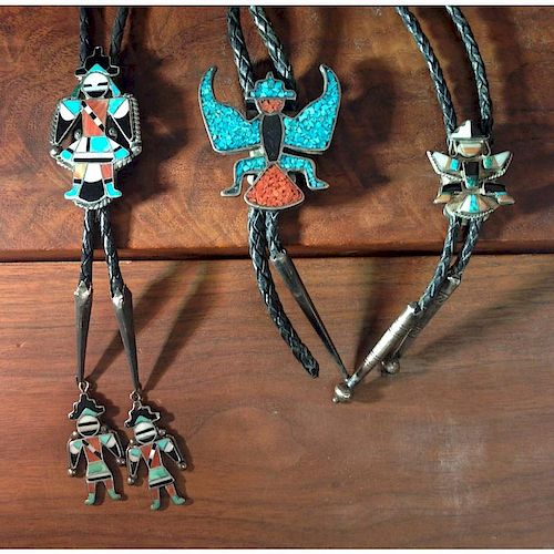Zuni Knifewing Silver Bolo Ties with Inlay