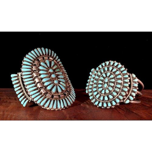 Zuni Silver and Turquoise Cuffs