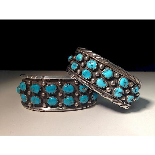 Helen Long (Dine, 20th century) Sterling Silver and Turquoise Bracelet, Plus From the Estate of Lorraine Abell, New Jersey (1