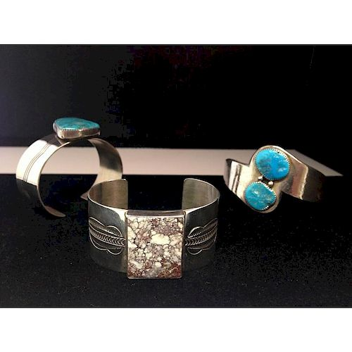 Navajo Sterling Silver and Turquoise Cuffs From the Estate of Lorraine Abell, New Jersey (1929-2015)