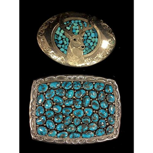 Sterling Silver and Turquoise Belt Buckles