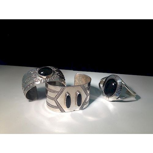 Navajo Sterling Silver and Black Onyx Bracelets From the Estate of Lorraine Abell, New Jersey (1929-2015)