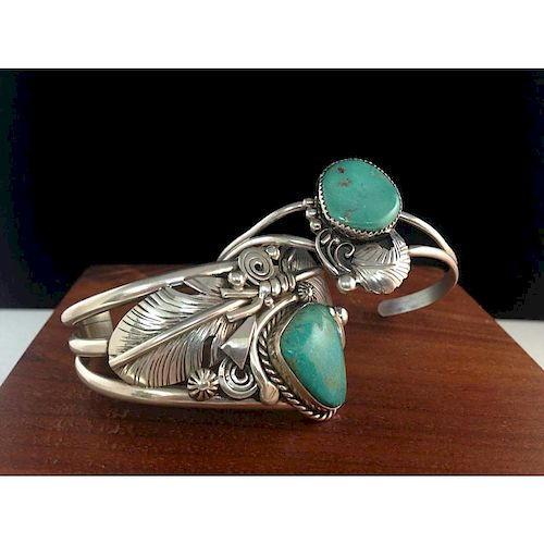 Ben Begay (Dine, 20th century) Turquoise and Sterling Silver Bracelet PLUS, From the Estate of Lorraine Abell (New Jersey, 19