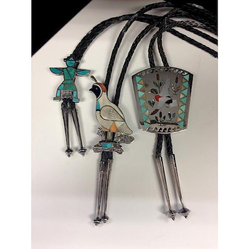 Zuni Silver Bolo Ties with Inlay