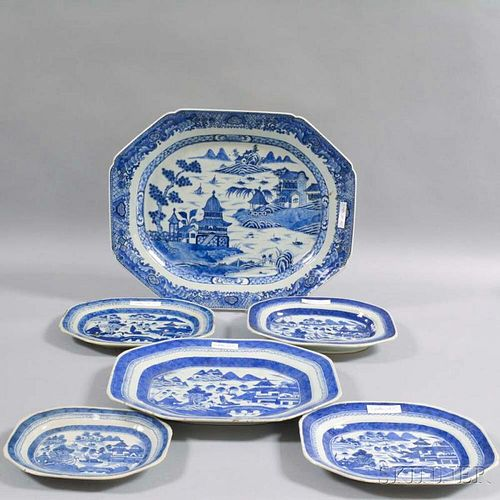 Six Canton Porcelain Octagonal Platters