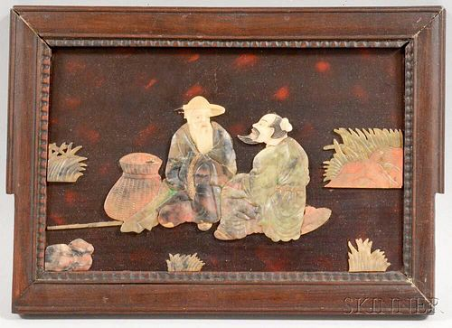 Asian Wood Panel with Carved Stone Figures