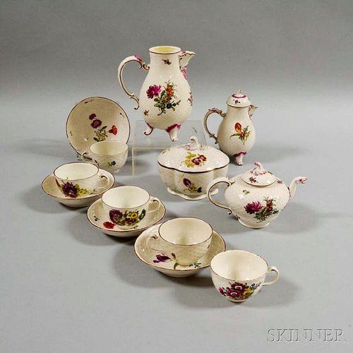 Thirteen-piece Ludwigsburg Porcelain Partial Tea Set